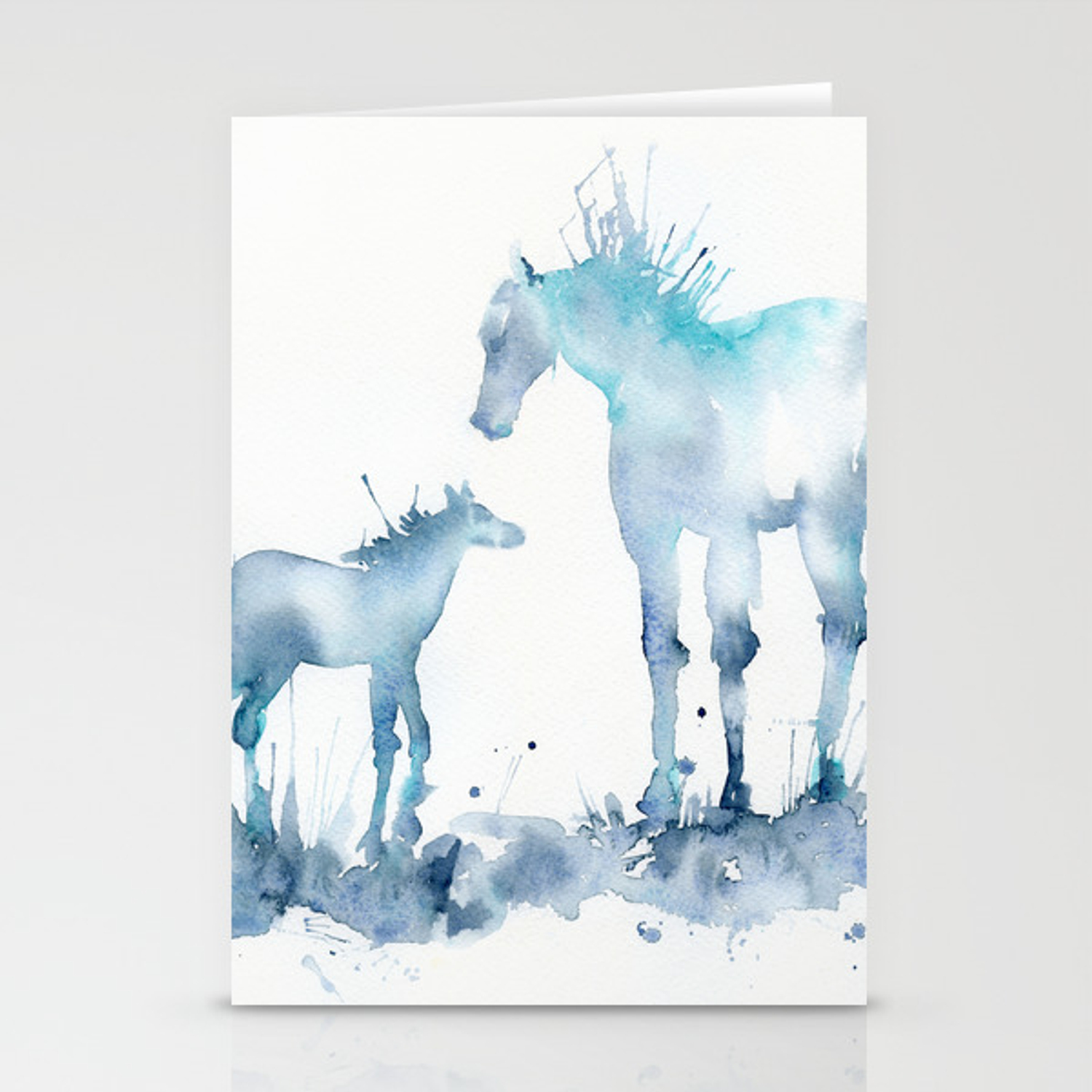 Watercolor Horse And Foal Mom And Baby Stationery Cards By Chengjing Society6