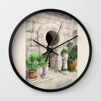 arab Wall Clocks featuring Arab Baths Palma de Mallorca DP151029b-14 by CSteenArt