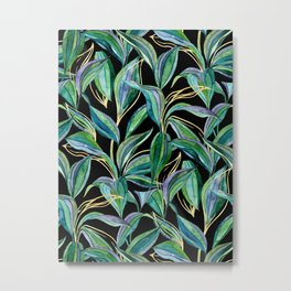 Leaves + Lines in Gold, Green and Black  Metal Print