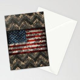 Digital Camo Patriotic Chevrons American Flag Stationery Cards
