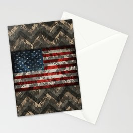 Digital Camo Patriotic Chevrons American Flag Stationery Cards