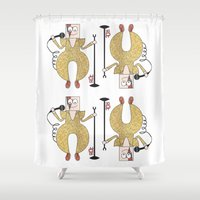 david olenick Shower Curtains featuring DAVID by Riot Clothing