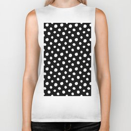 Minimal - white polka dots on black - Mix & Match with Simplicty of life Biker Tank