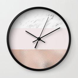 Pastel striping - rose gold marble Wall Clock
