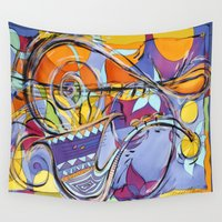 jazz Wall Tapestries featuring JAZZ by Diane Stevenett Fine Art