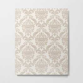 Royal Floral Damask Pattern – Neutral Brown and Beige Earth Tones Metal Print