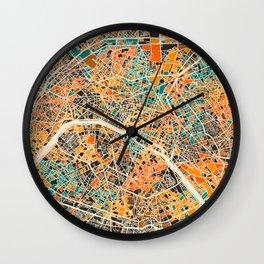 Paris mosaic map #2 Wall Clock