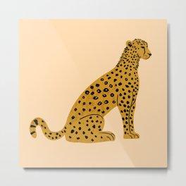 Sitting Leopard, Leopard Print, Leopard Art, Leopard Drawing, Leopard Illustration Metal Print