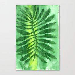 Green Palm Watercolor Minimalist Canvas Print