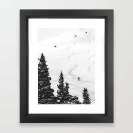 Backcountry Skier // Fresh Powder Snow Mountain Ski Landscape Black and White Photography Vibes Framed Art Print