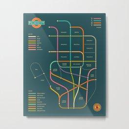 PALMISTRY HAND MAP (blue version) Metal Print