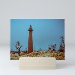 Little Sable Point Lighthouse Winter Desolate Dunes Blue Otherworldly Sky Mini Art Print