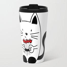 Cat with beautiful roses Travel Mug