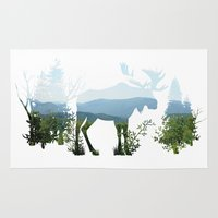 moose Area & Throw Rugs featuring Moose by Corina Rivera Designs