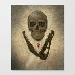 Impermanence - Velociraptor and Human Skull Canvas Print