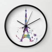 paris Wall Clocks featuring Paris by Watercolorist