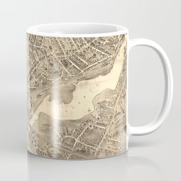 Vintage Pictorial Map of Norwalk CT (1889) Coffee Mug
