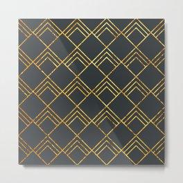 Diamond Art Deco; - Black & Gold Metal Print