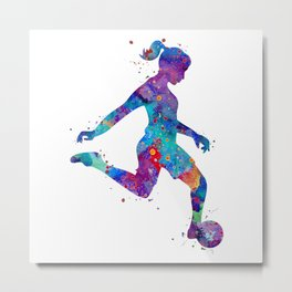 Soccer Girl Player Watercolor Art Gift Sports Art Metal Print