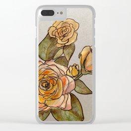 Peach Roses in Bunch Clear iPhone Case