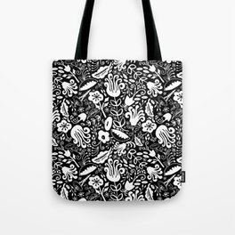 Funky Vintage Floral // Monochrome Black and White // Color Your Own Flower Garden Tote Bag