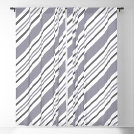 Pantone Lilac Gray and White Thick and Thin Angled Lines - Stripes Blackout Curtain