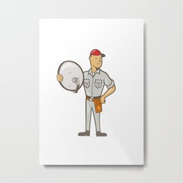 Cable TV Installer Guy Standing Metal Print