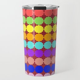 Stylized round multi-colored flowers (red background) Travel Mug