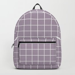 Heliotrope gray - grey color - White Lines Grid Pattern Backpack