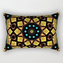 Bright Yellow Mosaic Symmetry Mandala Rectangular Pillow
