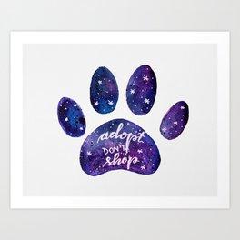 Adopt don't shop galaxy paw - purple Art Print