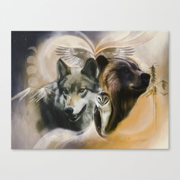 Wolf, Bear, Owl Spirit Animals Canvas Print