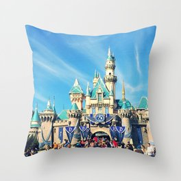 Sleeping Beauty Castle 60th Anniversary Throw Pillow
