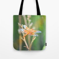 dragonfly Tote Bags featuring Dragonfly by Lisa Argyropoulos