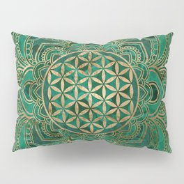Flower of Life in Lotus - Malachite and gold Pillow Sham