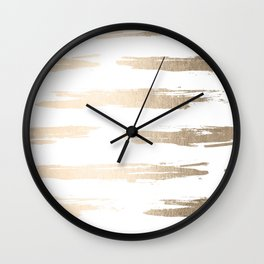 Simply Brushed Stripe White Gold Sands on White Wall Clock