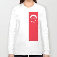 singapore Long Sleeve T-shirts featuring Flag of Singapore by Neville Hawkins