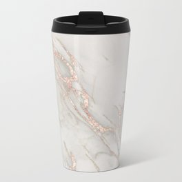 Marble Rose Gold Blush Pink Metallic by Nature Magick Metal Travel Mug