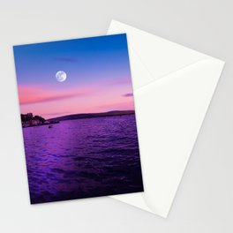 Full Moon at Sunset Over the Isle of Mull Stationery Cards