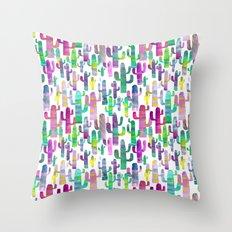 Watercolor Cacti - Pinks - Saguaros Throw Pillow