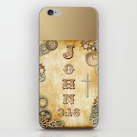 bible verses iPhone & iPod Skins featuring Steampunk Bible Verse John 3:16 by Whimsy and Nonsense