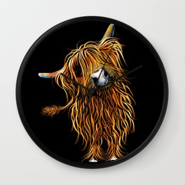HIGHLAND COW PRINTS of Original SCOTTISH Painting  'CoooWeee on BLaCK ' SHIRLEY MACARTHUR Wall Clock