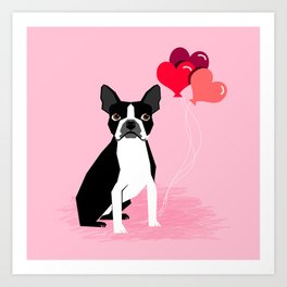 Boston Terrier dog lover valentines day heart balloons must have gifts for Boston Terriers Art Print