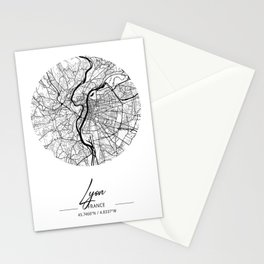 Lyon Area City Map, Lyon Circle City Maps Print, Lyon Black Water City Maps Stationery Cards