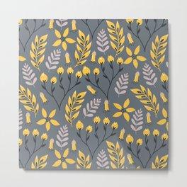 Mod Floral Yellow on Gray Metal Print