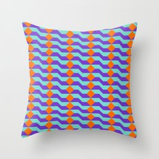 Tricolor Steps Orange Purple & Teal Throw Pillow