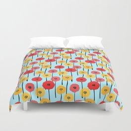 Bright Sunny Mod Poppy Flower Pattern Duvet Cover