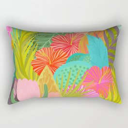 Saturated Tropical Plants and Flowers Rectangular Pillow