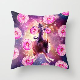 Warrior Space Cat On Wolf Unicorn - Donut Throw Pillow