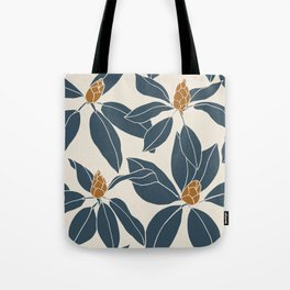 Rhododendrons before the bloom, Navy Leaves Tote Bag